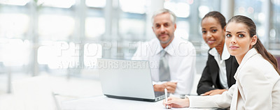 Buy stock photo Mature man and young business woman working together
