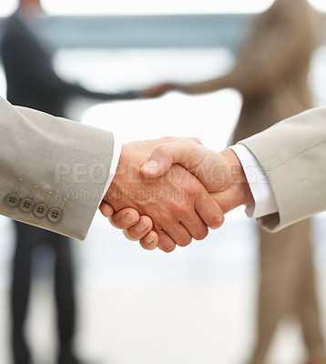 Buy stock photo Closeup of business people shaking hands