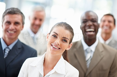 Buy stock photo Confident business woman with team at the background