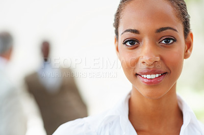 Buy stock photo Closeup portrait of a happy African American business woman