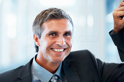 Buy stock photo Portrait of a happy mature business man