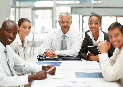 Buy stock photo Group of business people at a meeting