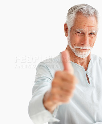 Buy stock photo Portrait of a happy old man showing a thumbs up on white