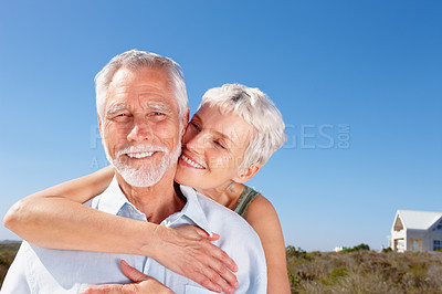 Buy stock photo Portrait of a romantic senior old couple enjoying at a vacation