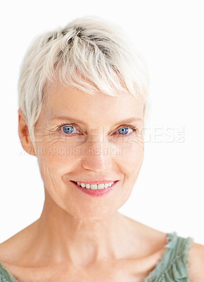 Buy stock photo Closeup of an old senior grandmother smiling confidently
