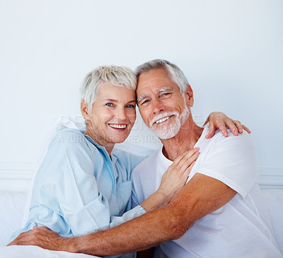 Buy stock photo Portrait of a loving couple in bed
