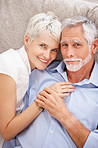Portrait of a sweet elderly couple in love