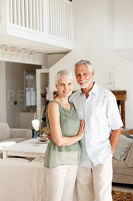 Buy stock photo Portrait of a happy old couple at their new home