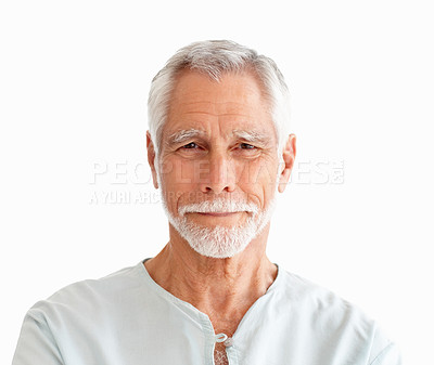 Buy stock photo Closeup portrait of a happy old man isolated over a white background