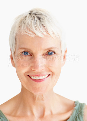 Buy stock photo Closeup portrait of an aged old beautiful woman isolated over white background