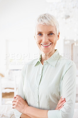 Buy stock photo Happy old woman standing confidently with her hand folded