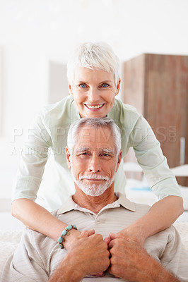 Buy stock photo Portrait of a romantic senior old couple together at home