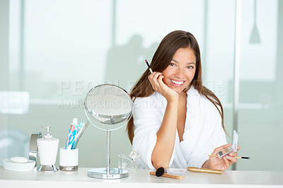 Buy stock photo Cute woman at home grooming herself after a bath