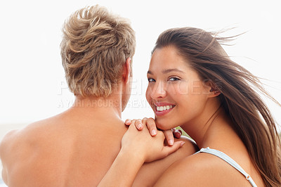 Buy stock photo Portrait of an attractive gorgeous couple having fun together
