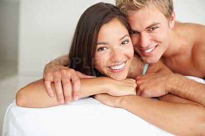Buy stock photo Cute couple enjoying their honeymoon with eachother