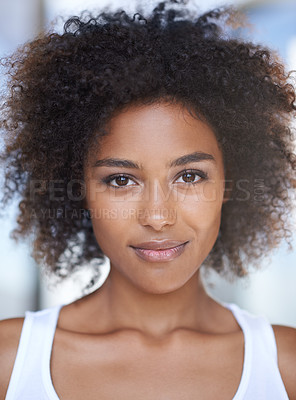 Buy stock photo Closeup portrait of a naturally beautiful ethnic woman