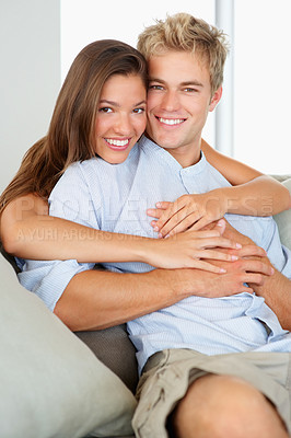 Buy stock photo Portrait of a happy couple spending quality time