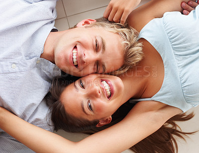 Buy stock photo Top view of a happy young couple in love