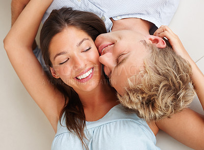 Buy stock photo Portrait of a young couple enjoying themselves