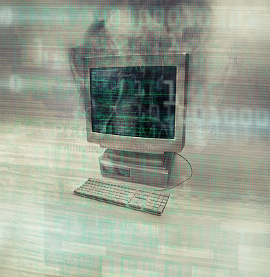 Buy stock photo Shot of a desktop computer smoking after burning out- ALL design on this image is created from scratch by Yuri Arcurs'  team of professionals for this particular photo shoot