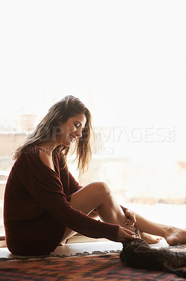 Buy stock photo Cropped shot of a sexy young woman in her bedroom