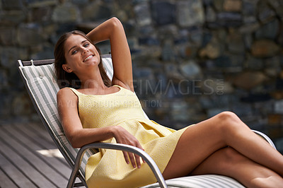 Buy stock photo Young woman relaxing outdoors