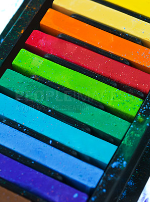 Buy stock photo Studio shot of a variety of pastel crayons