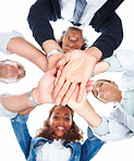 Upward view of business people with their hands together on a white background