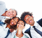 Upward view of business people standing together on a white background