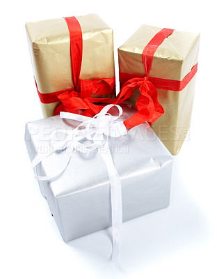 Buy stock photo Three christmas presents  isolated on white - copyspace