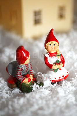 Buy stock photo Sweet little christmas decorations placed in a snowy landscape - copyspace