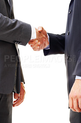 Buy stock photo Cropped closeup shot of two businesspeople shaking hands