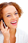 Closeup of a smiling woman talking on cellphone