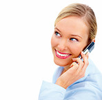 Happy young woman using cellphone looking at copyspace