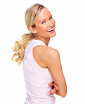 Pretty blond woman looking over her shoulder laughing