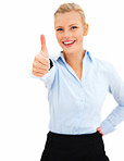Success - Smiling young woman giving thumbs up