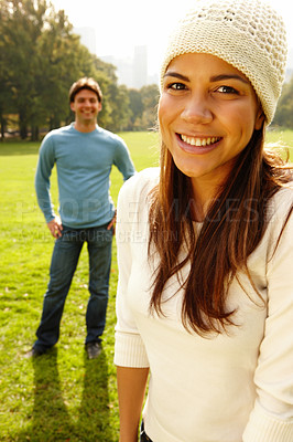 Buy stock photo Young woman smiling  under copyspace
