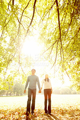 Buy stock photo Sweet young couple holding hands and strolling in a wood lit by the autumn sunlight