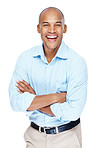 Smiling african american young man standing against white