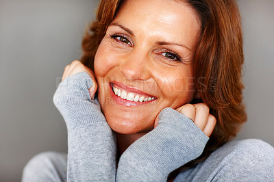 Buy stock photo Portrait of happy young female posing