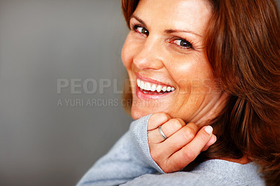 Buy stock photo Portrait of happy young female smiling - Copyspace