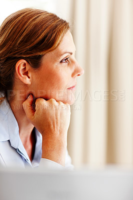 Buy stock photo Cute young female thinking while looking away