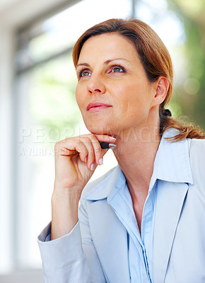 Buy stock photo Portrait of cute young business woman daydreaming