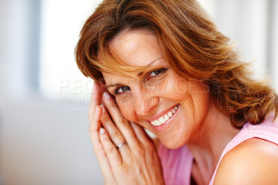 Buy stock photo Closeup portrait of pretty young woman posing