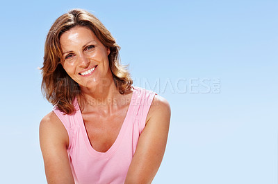 Buy stock photo Portrait of happy young woman smiling - Outdoor