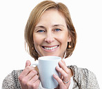 Portrait of pretty mature woman holding a coffee cup isolated ov