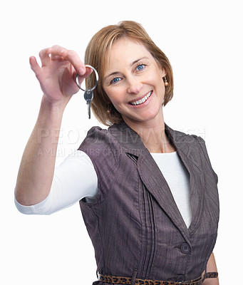 Buy stock photo Pretty middle aged woman holding keys isolated ove