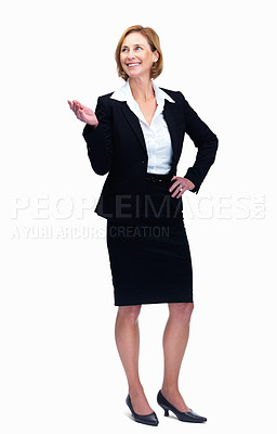 Buy stock photo Attractive middle aged female lawyer showing copys