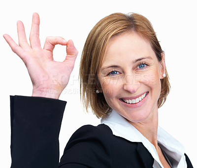 Buy stock photo Beautiful mature business woman gesturing an excel