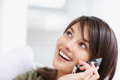 Buy stock photo Cute young female talking on the mobile , looking